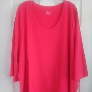 Denim & Co Jersey Pink/Coral Knit Tee- 5X